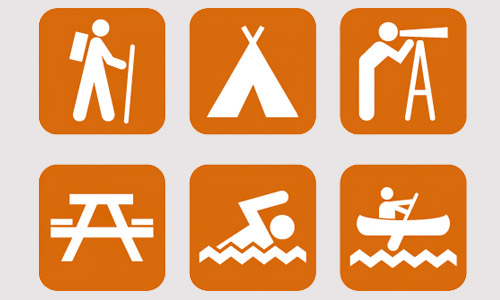 camping summer icons