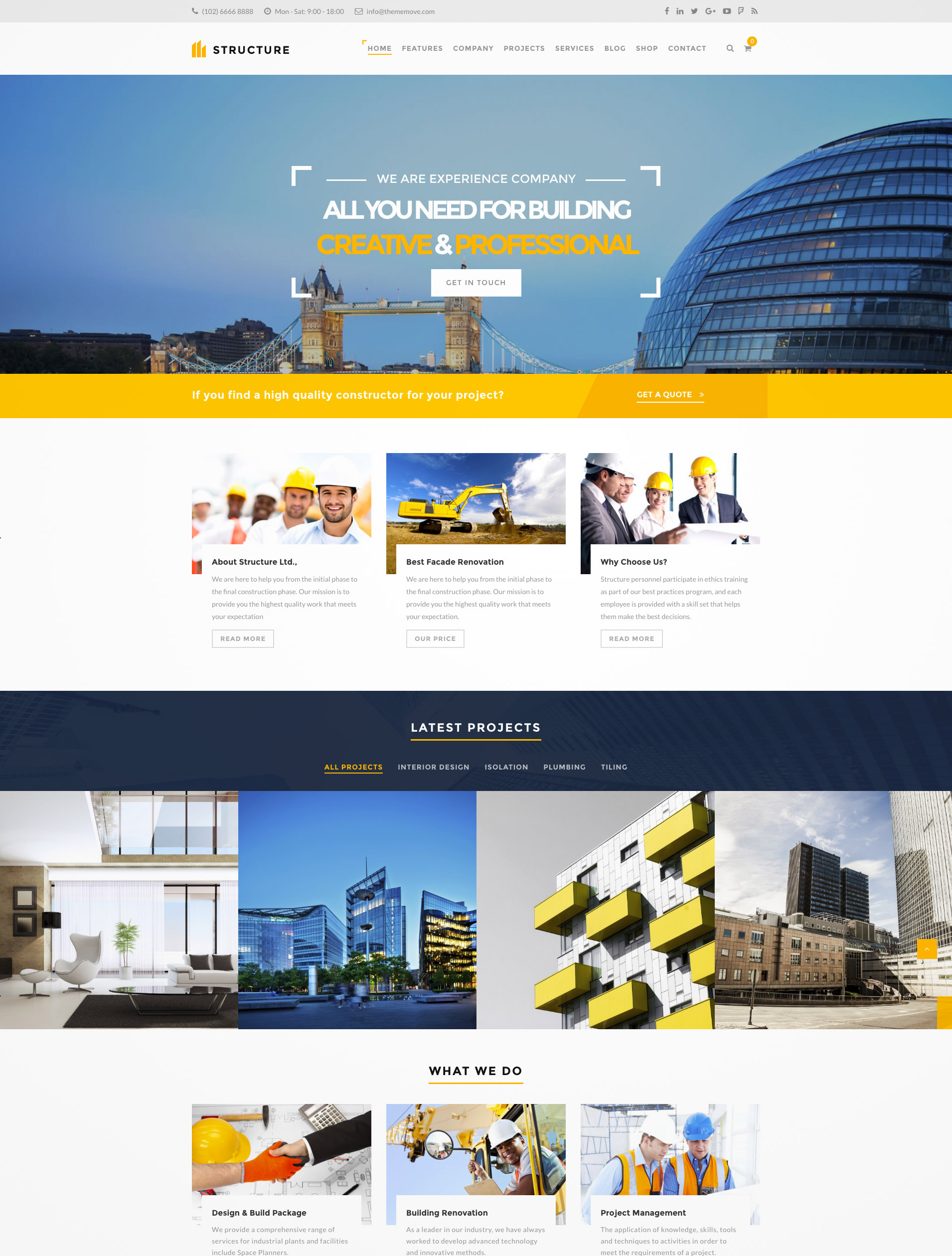 construction architect wptheme