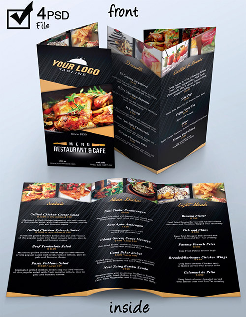 30 Inspired Restaurant Menu Brochure Designs You Must See | Naldz