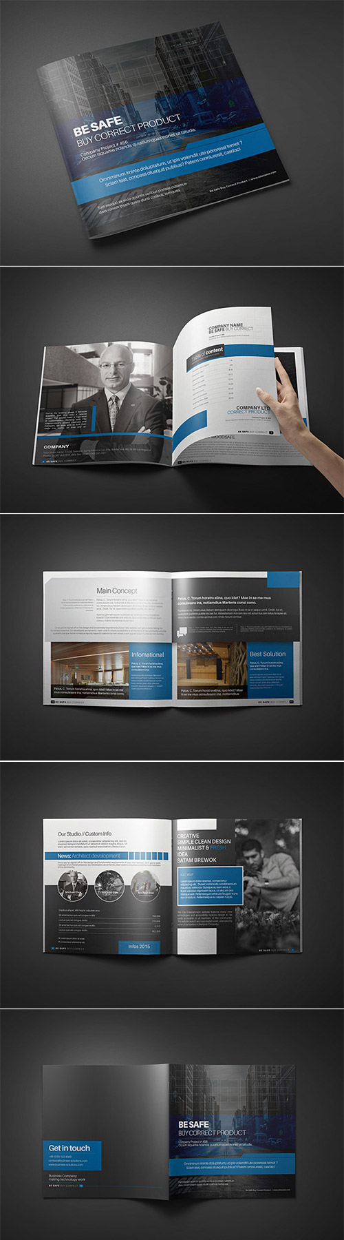 dark square brochure