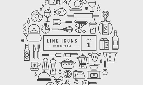 kitchen line icons