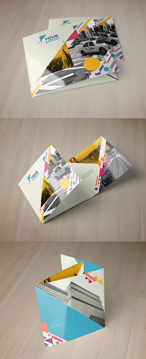 square colorful brochure