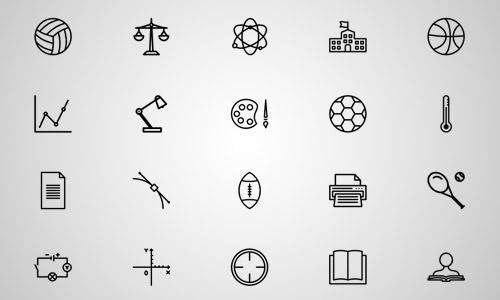 classroom line icons