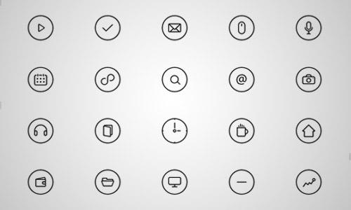 thin round line icons