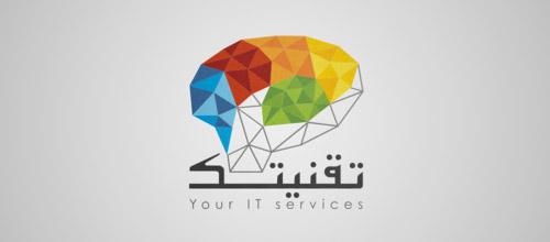brain low poly logo