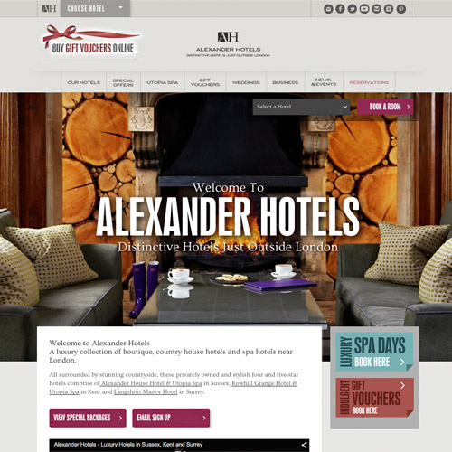 alexander hotels web design