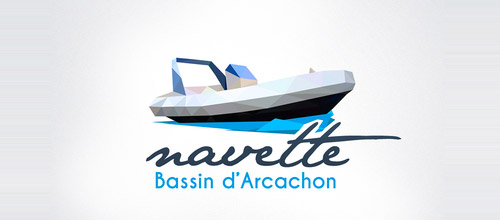 boat logo low poly