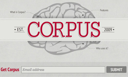 corpus grey website design