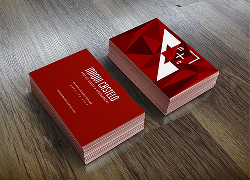 red low poly business card