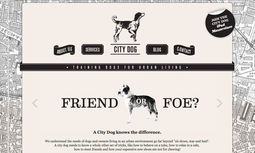 city dog grey site design