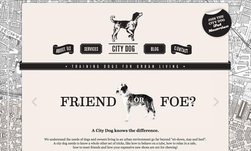 city dog grey site design