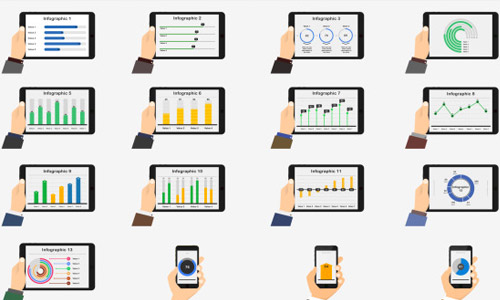 flat mobile infographics