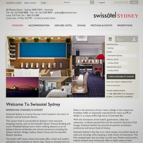 swiss resort website design