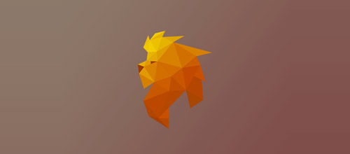 lion logo low poly