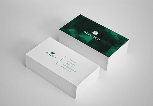 green low poly business card