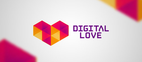 digital love low poly logo