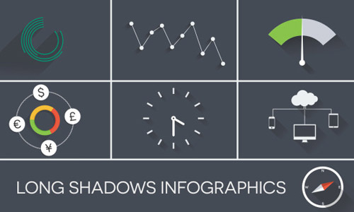 long shadow infographics