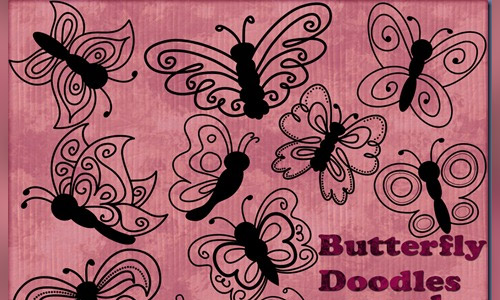 free butterfly doodles photoshop shapes