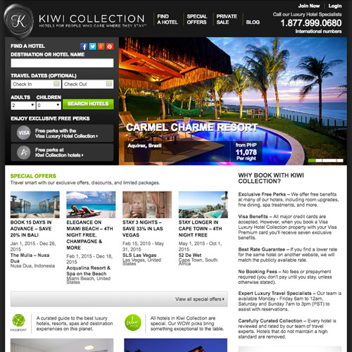 kiwi resorts design website