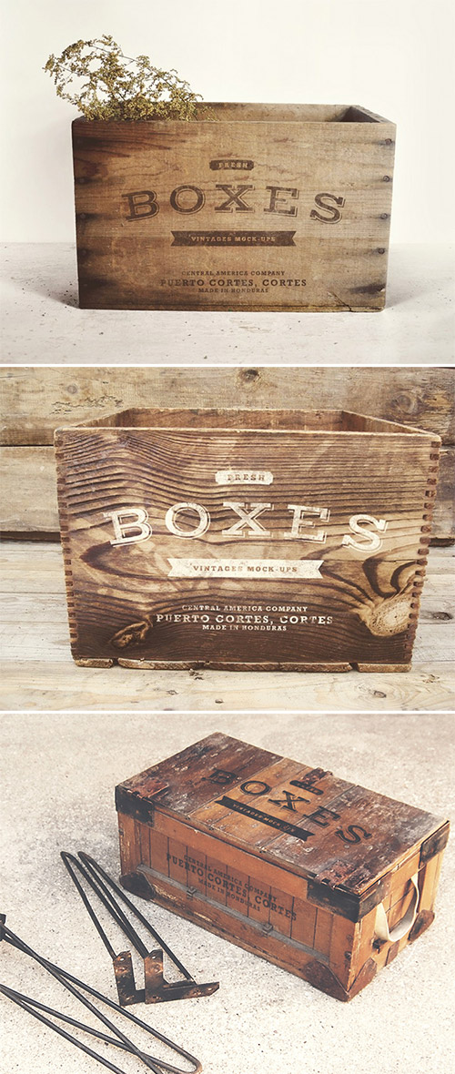 vintage boxes mock-up