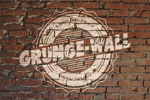grunge brick logo mockup