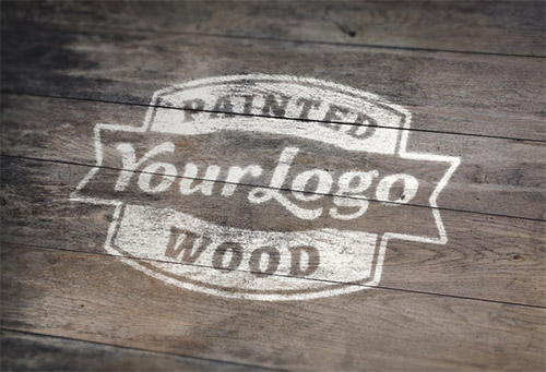 painted wood vintage mockup