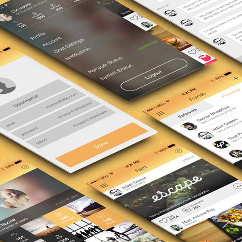 free flat mobile app ui
