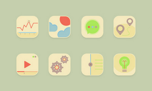 retro pastel icons