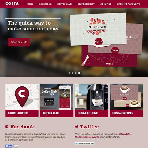 costa coffee web design