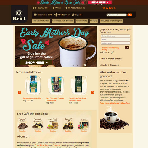 britt coffee website