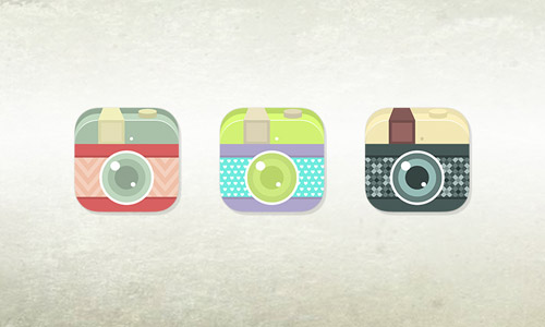 vintage flat camera icons