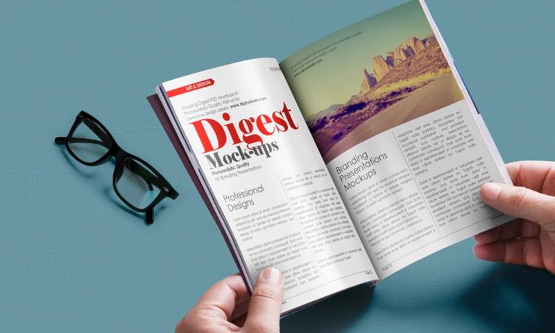 free digest size magazine mockup