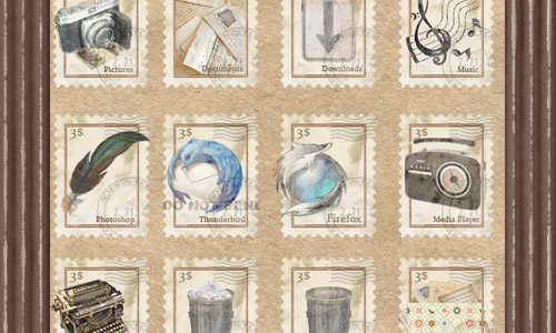 vintage stamp icons