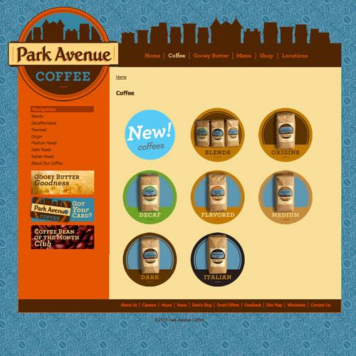 park avenue coffee web design
