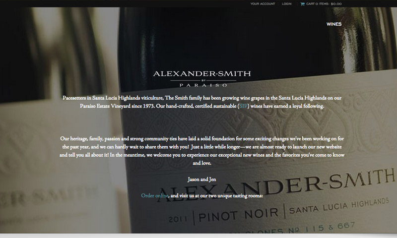 winery web design