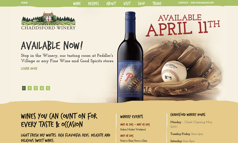 winery sample website