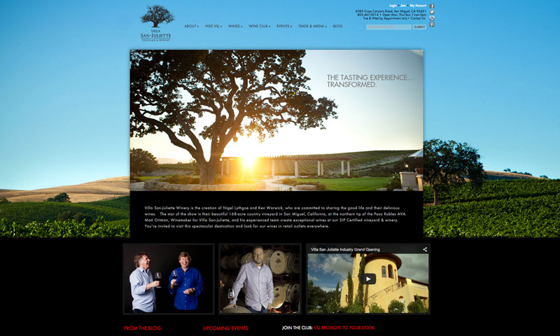 vineyard winery websites