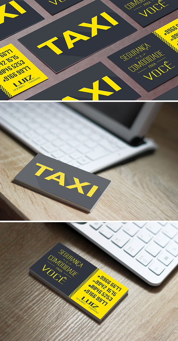 minimal taxi business card