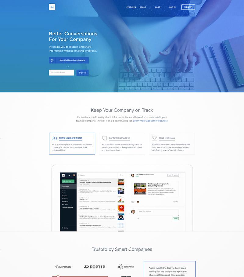 blue background website