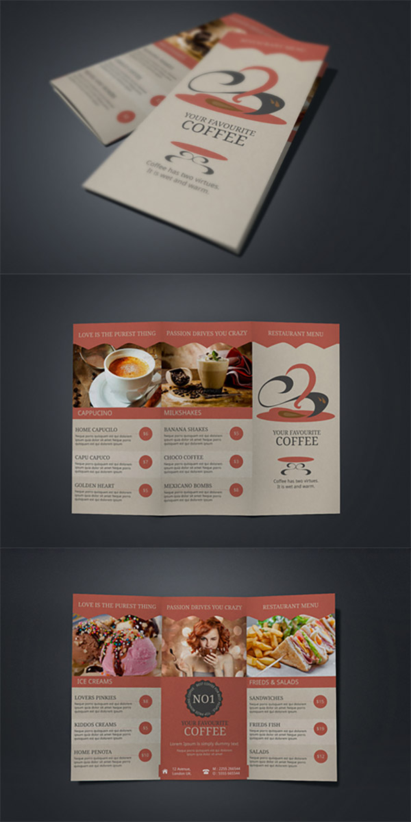 coffee menu brochures