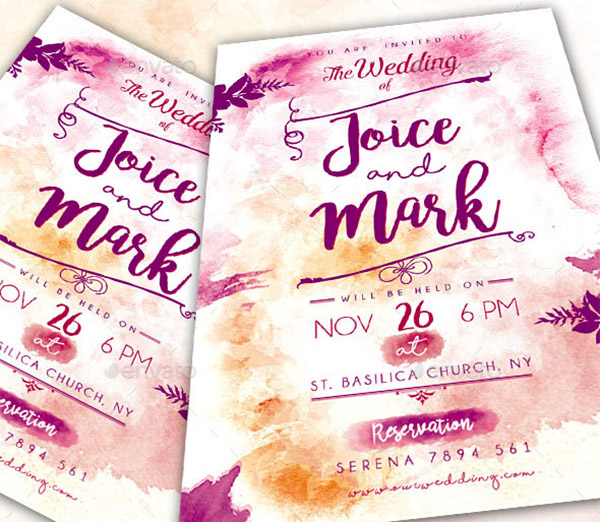 watercolor theme invite