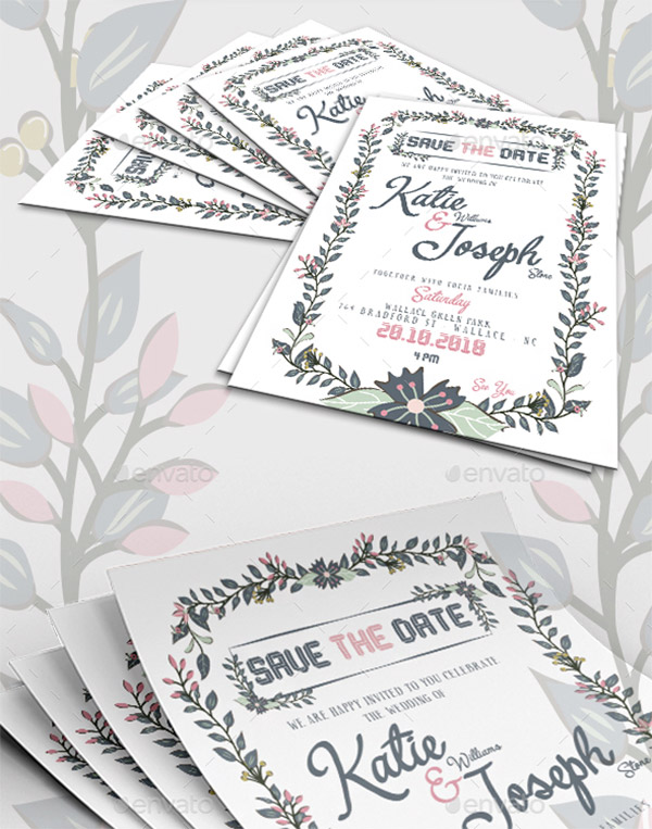 floral invites wedding