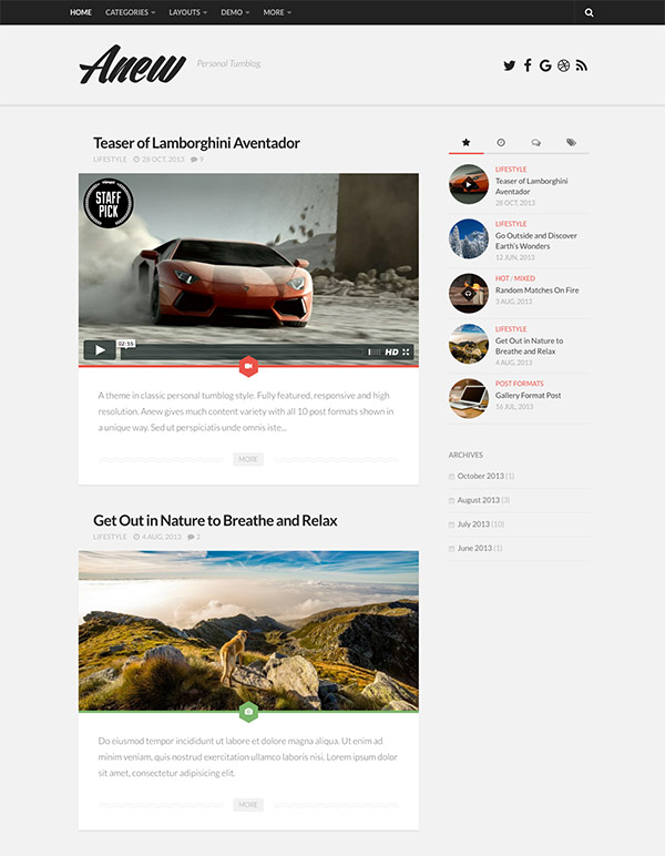wordpress tumblog theme