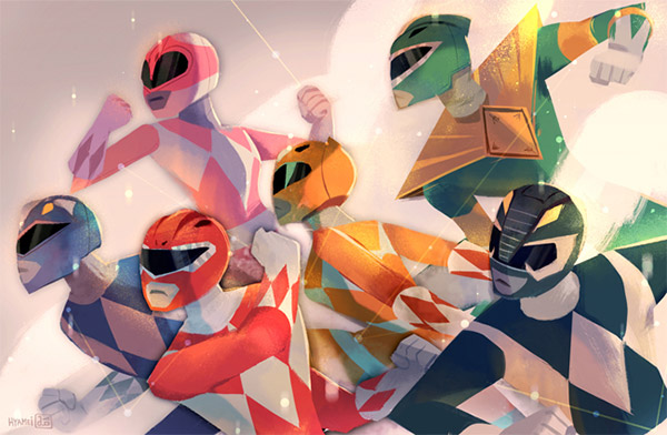 low poly power rangers