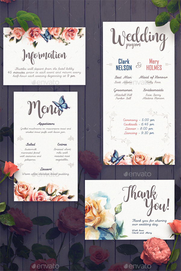 rose theme invitation