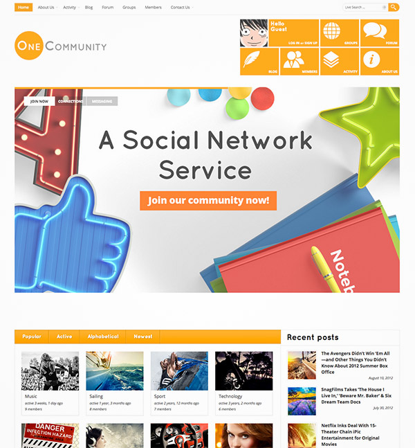 community website themes