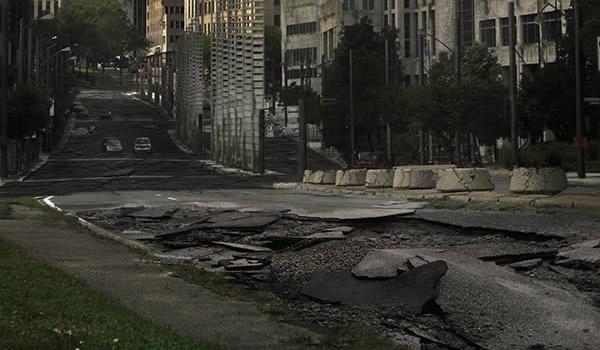 city ruins matte painting