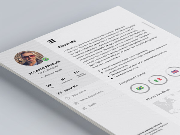 this resume template has a ui inspired design with a clean and modern layout