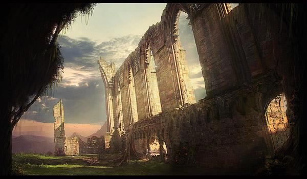 ruins scenery painting