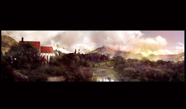 multiple photographs matte painting